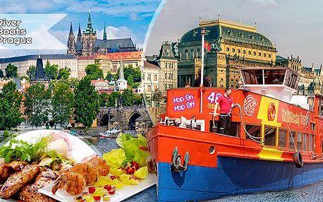 2hod. polední nebo 3hod. večerní vyhlídková plavba lodí po Vltavě pro 1 osobu + bohatý raut - all you can eat!