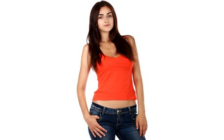 Dámské tílko s krajkou na úzká ramínka oranžová
