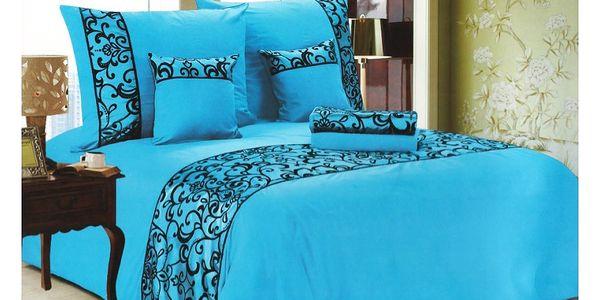 NOVIA Luxusní povlečení se saténem, bavlna, 6 dílné, světle modrá, 140x200 70x90 40x40