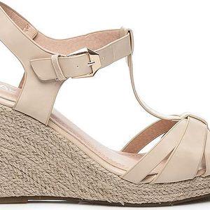 Luxusní béžové sandálky na klínku