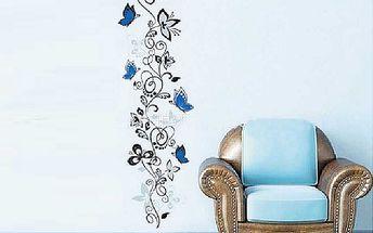 Nalepte.cz Modrý rostlinný dekor 50 x 70 cm
