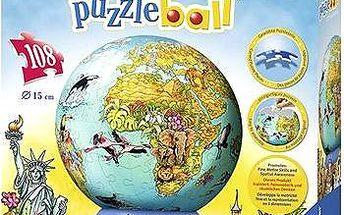 3D Puzzleball - Dětská mapa světa