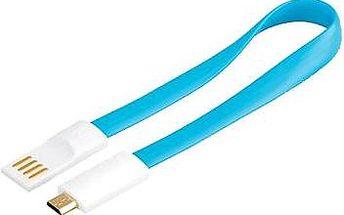 premiumCord kabel USB A/m - B/m micro bílo-modrý 0.2m (8592220011567)