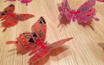 Nalepte.cz 3D dekorace na zeď motýlci růžoví love 12 ks 5 až 12 cm