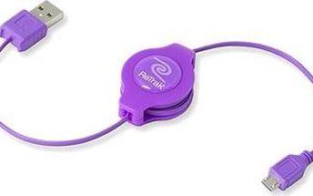 RETRAK computer USB typ A-microUSB fialový, 1m