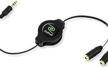 RETRAK audio sluchátkový rozbočovač 0.9m černý