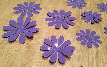 Nalepte.cz 3D květy na zeď světle fialová 12 ks průměr 7,6 cm až 11 cm