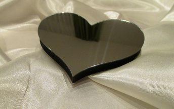 Nalepte.cz 3D dekorace na zeď srdce zrcadlové 10 x 8,5 cm