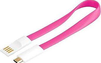 premiumCord kabel USB A/m - B/m micro bílo-růžová 0.2m (8592220011581)