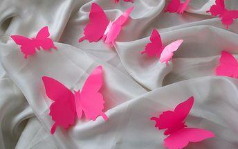 Nalepte.cz 3D motýlci na zeď razivá růžová 12 x 10 cm