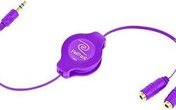 RETRAK audio sluchátkový rozbočovač 0.9m fialový