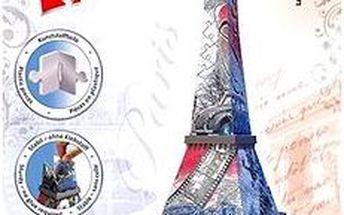 3D Puzzle - Eiffelova věž, vlajková edice