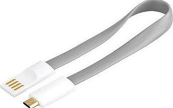 premiumCord kabel USB A/m - B/m micro bílo-šedá 0.2m (8592220011550)