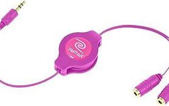 RETRAK audio sluchátkový rozbočovač 0.9m růžový