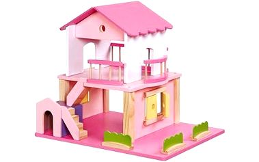 Dřevěný domeček pro panenky - růžový