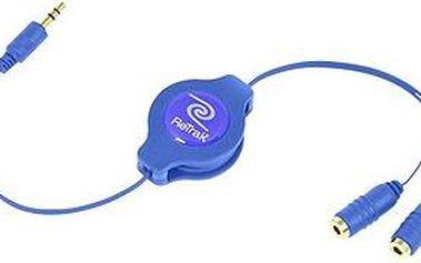 RETRAK audio sluchátkový rozbočovač 0.9m modrý