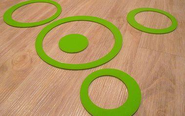 Nalepte.cz 3D dekorace na zeď kruhy zelené 5ks 5 až 15 cm
