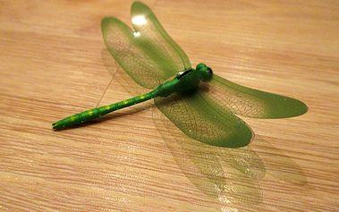 Nalepte.cz 3D vážka zelená dekorace na zeď 12 cm