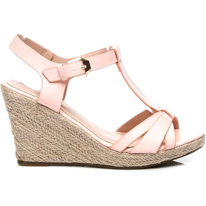 Letní růžové sandálky na klínku