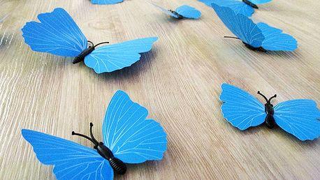 Nalepte.cz 3D dekorativní motýlci modrá 12 ks 12 kusů 6 cm až 12 cm