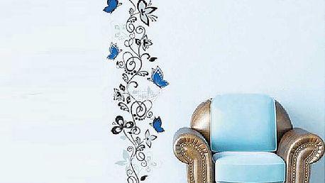 Modrý rostlinný dekor 50 x 70 cm