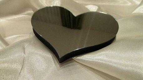 3D dekorace na zeď srdce zrcadlové 10 x 8,5 cm