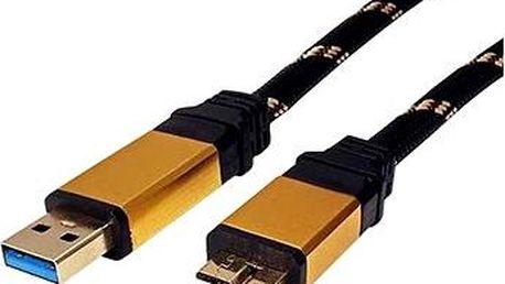 ROLINE Gold USB 3.0 SuperSpeed USB 3.0 A(M) -> micro USB 3.0 B(M), 0.8m - černo/zlatý