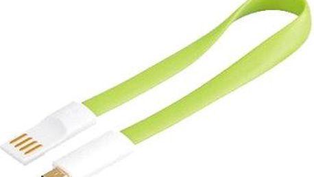 premiumCord kabel USB A/m - B/m micro bílo-zelený 0.2m (8592220011574)