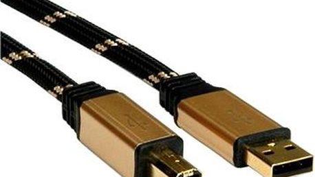 ROLINE Gold USB 2.0 A-B, 3m - černo/zlatý