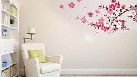 Nalepte.cz Větev s růžovými květy 60 x 45 cm