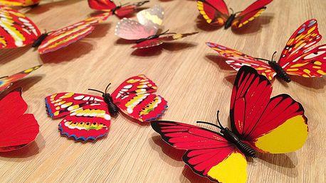 3D motýli na zeď červenožlutá 12 ks 5,5 cm až 12 cm