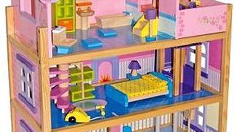 RaKonrad Velký dřevěný domeček pro panenky - růžový