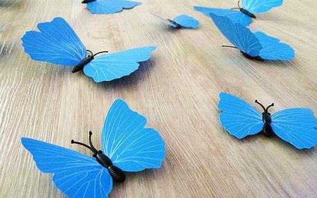 3D dekorativní motýlci modrá 12 ks 12 kusů 6 cm až 12 cm
