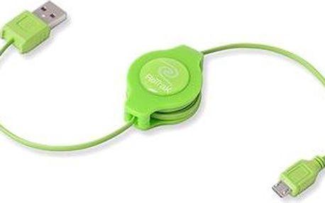 RETRAK computer USB typ A-microUSB zelený, 1m