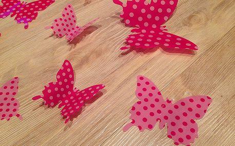 3D dekorace motýlci růžoví s puntíky 12 ks 5 až 12 cm