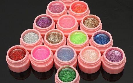 Sada barevných gelů na nehty - 16 kusů