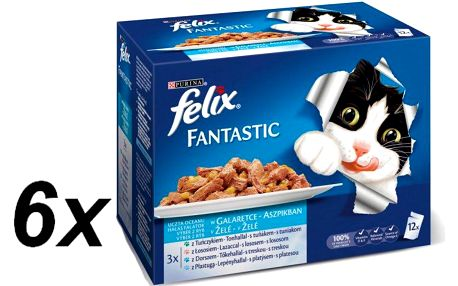 Felix Fantastic výběr z ryb s lososem , platýsem, s tuňákem a treskou 6 x (12 x 100g)