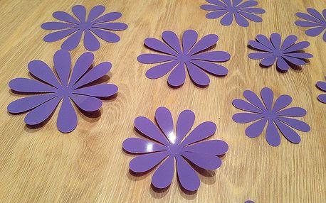 3D květy na zeď světle fialová 12 ks průměr 7,6 cm až 11 cm
