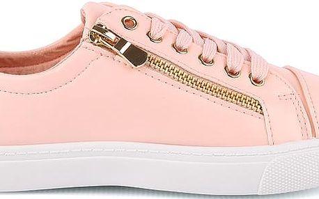 Růžové trendy tenisky se zipem