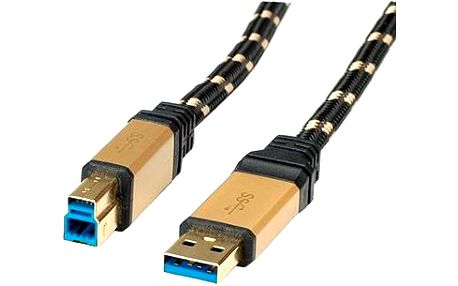 ROLINE Gold USB 3.0 SuperSpeed USB 3.0 A(M) -> USB 3.0 B(M), 0.8m - černo/zlatý