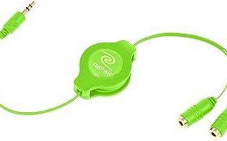RETRAK audio sluchátkový rozbočovač 0.9m zelený