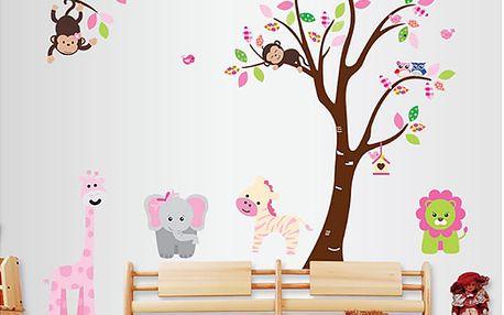 Roztomilá zvířata a strom 220 x 140 cm