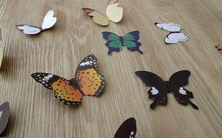 3D papíroví motýlci na zeď 15 ks 4 až 6 cm