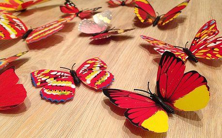 Nalepte.cz 3D motýli na zeď červenožlutá 12 ks 5,5 cm až 12 cm