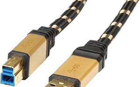 ROLINE Gold USB 3.0 SuperSpeed USB 3.0 A(M) -> USB 3.0 B(M), 1.8m - černo/zlatý