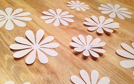 3D květy na zeď bílá 12 ks průměr 7,6 cm až 11 cm