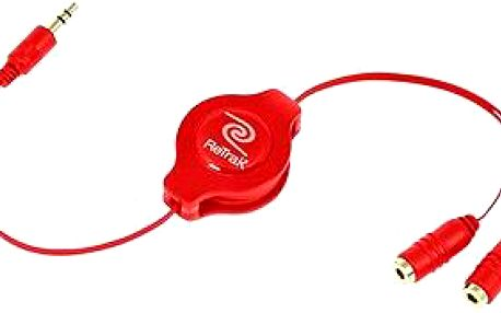 RETRAK audio sluchátkový rozbočovač 0.9m červený