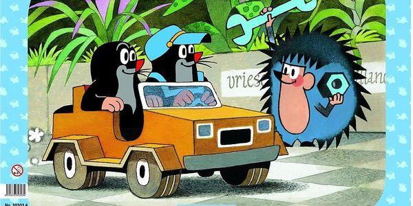 Puzzle 12 dílků Krtek a auto