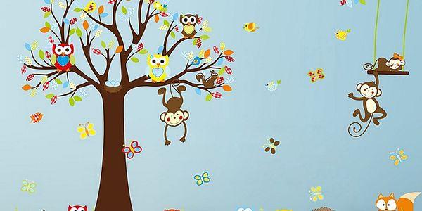 Strom sovičky a opičky 234 x 150 cm