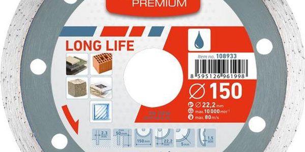 Extol Premium (108932) kotouč diamantový řezný celoobvodový Long Life, 125x22,2mm, mokré řezání